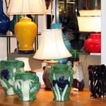 Carved Awaji Pottery, Vintage Lamps, Ebony Elephant.
